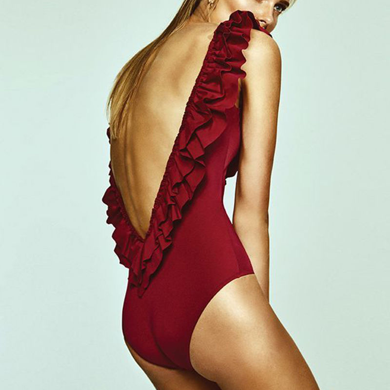 TB-085 Red Deep V One Piece