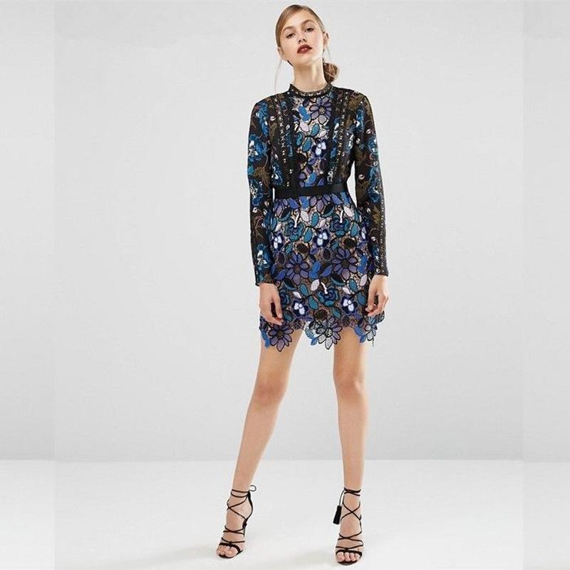 TA-038 Blue Flower Lace Dress