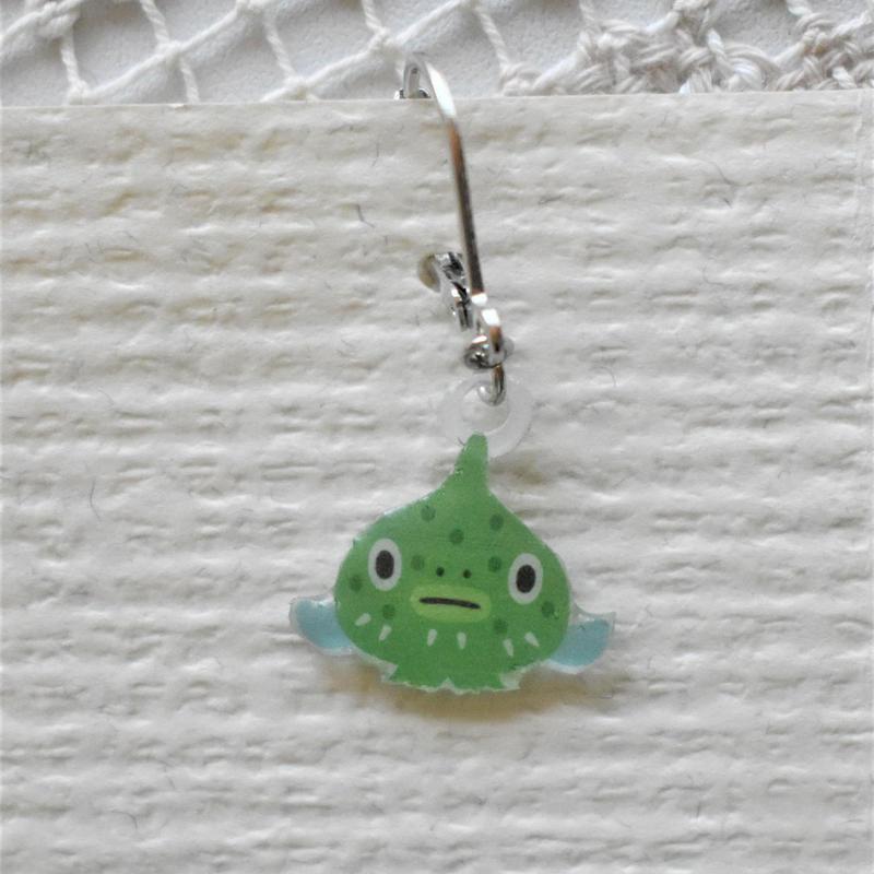 緑だんごうおのピアス(イヤリング)片耳