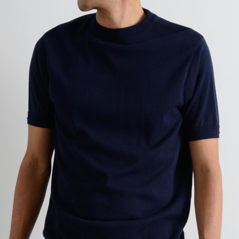 FUJITO / Mock Neck Knit T-Shirt