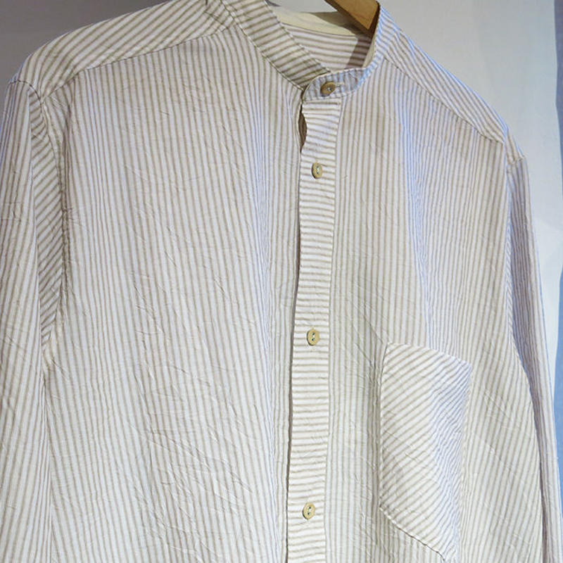 FRANK LEDER Crushed Cotton Striped Band Collar shirt