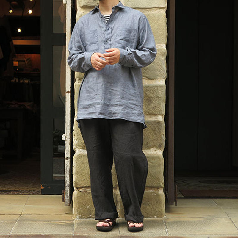 INDIVIDUALIZED SHIRTS / 別注 LINEN P/O LONG SHIRTS / GREY