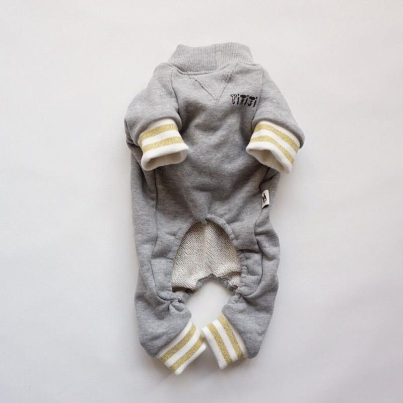tititiのスウェットロンパース//ホワイト×ゴールド          *フレブル服TiTiTi