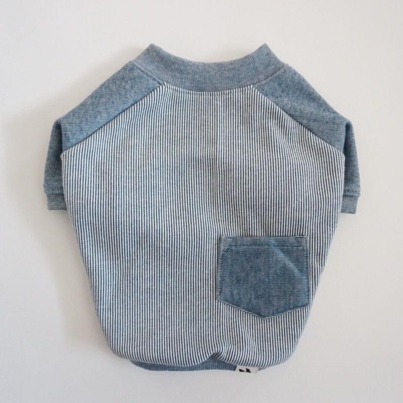ヒッコリーデニムのラグランTシャツ// ブルー       [フレブル服TiTiTi]