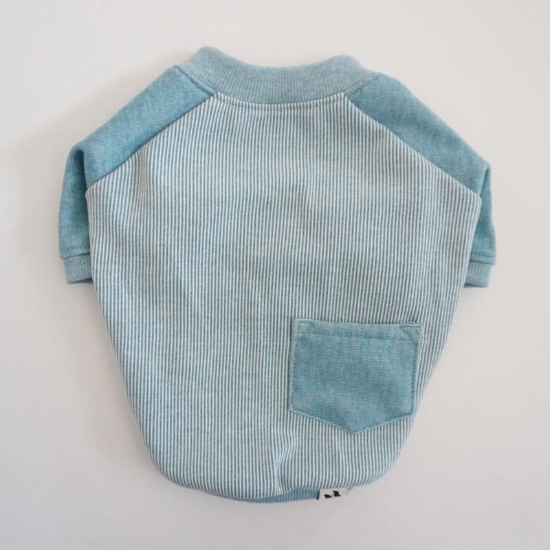 ヒッコリーデニムのラグランTシャツ// ライトブルー       [フレブル服TiTiTi]