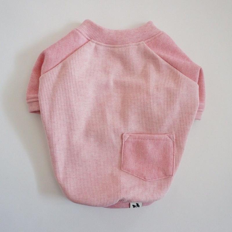ヒッコリーデニムのラグランTシャツ// ピンク       [フレブル服TiTiTi]