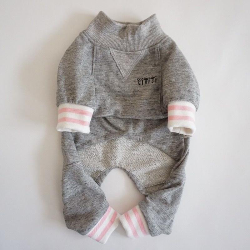 tititiのスウェットusude:ロンパース//ホワイト×ピンク       【フレブル服TiTiTi】