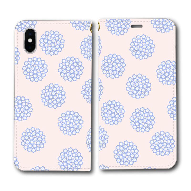 ネモフィラの花畑 桜色 北欧風×伝統色【(L)手帳型スマホケース】iPhone/Android