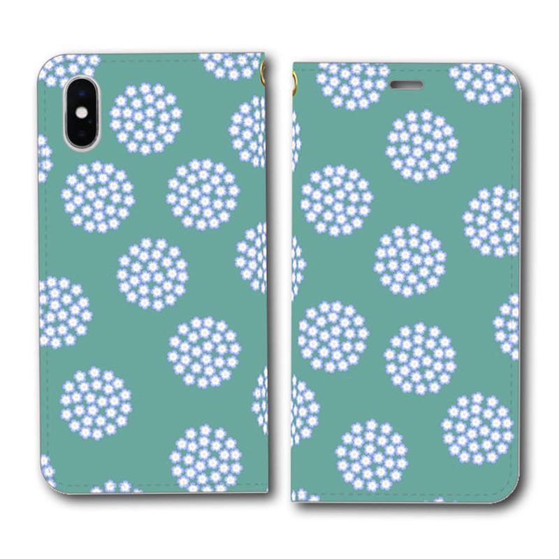 ネモフィラの花畑 青竹色 北欧風×伝統色【(L)手帳型スマホケース】iPhone/Android