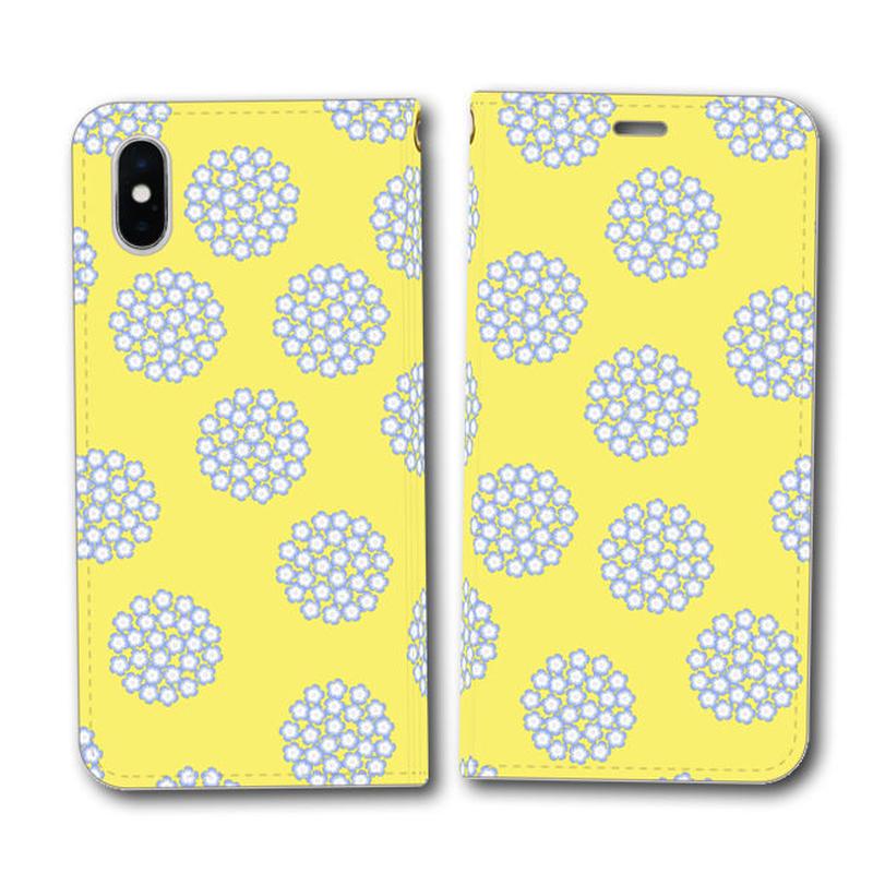 ネモフィラの花畑 黄蘗色 北欧風×伝統色【(S)(M)手帳型スマホケース】iPhone/Android