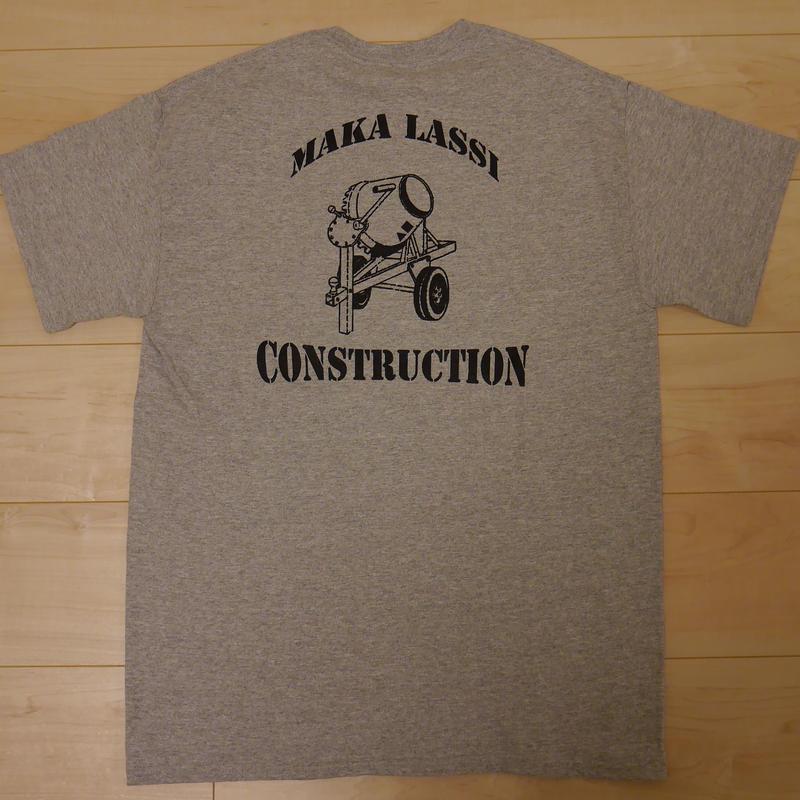 """MAKA LASSI """"MAKA CONSTRUCTION"""" S/S Tシャツ (GREY)"""