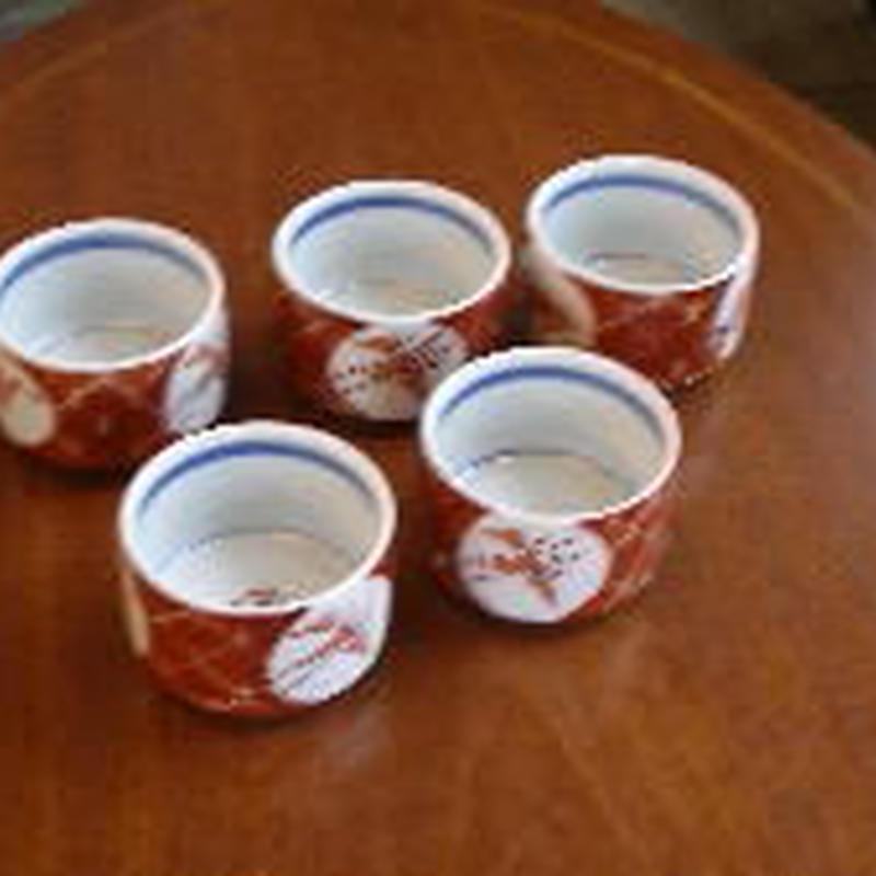 痴陶人(伊万里陶苑)赤絵格子松竹梅小鉢 5ヶセット