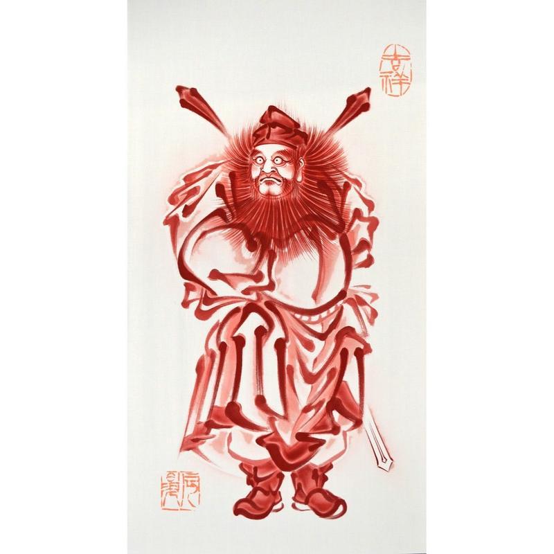 いわき絵のぼり 朱描き鍾馗 (H140×W70㎝ 棒80cm)