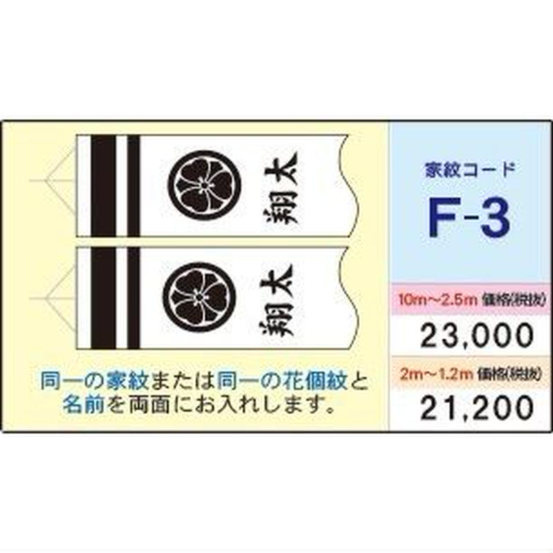 F-3鯉のぼり吹き流しが2.5m~10mの場合、同一家紋+名前or花個紋+名前を両側に入れます