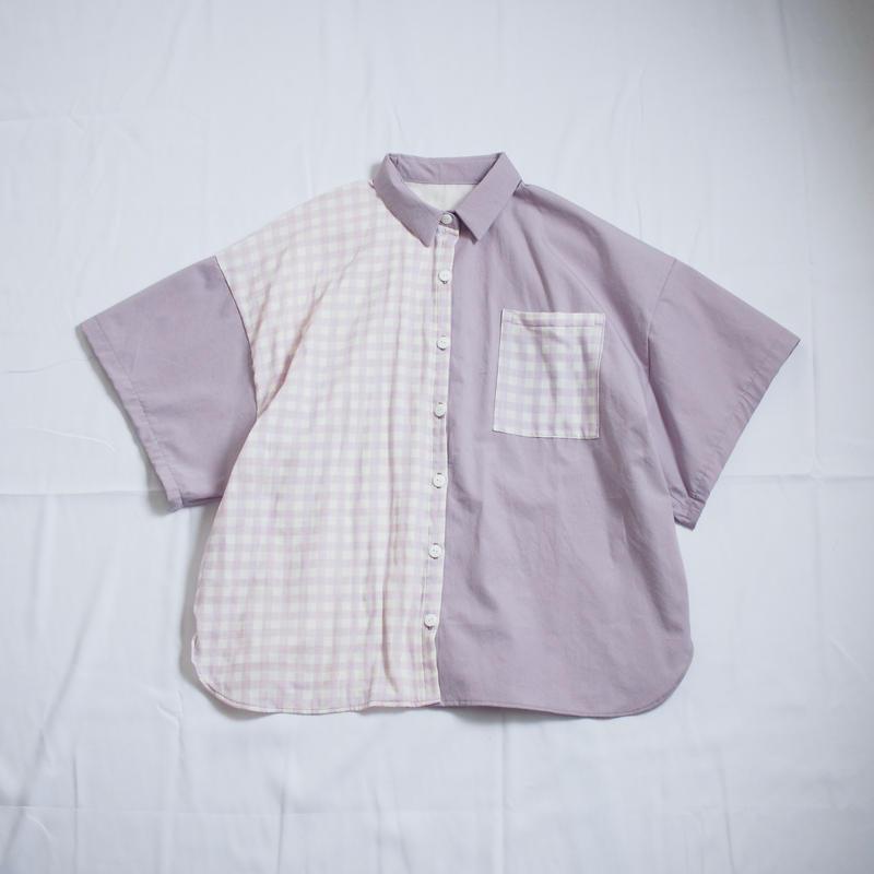 ツギハギ半袖シャツ(パープル)