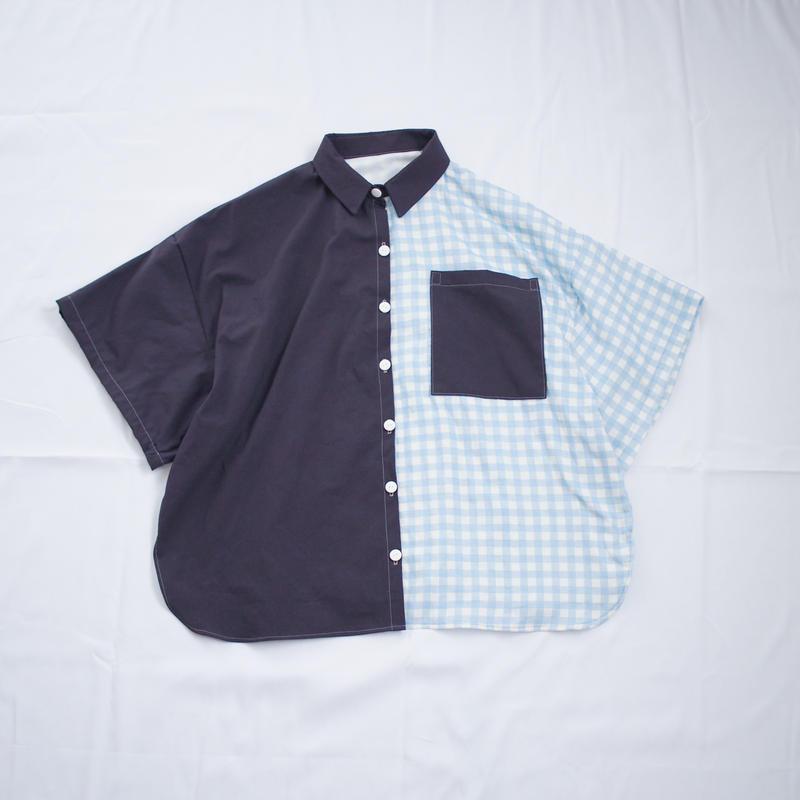 ツギハギ半袖シャツ(ダークブラウン×ブルー)