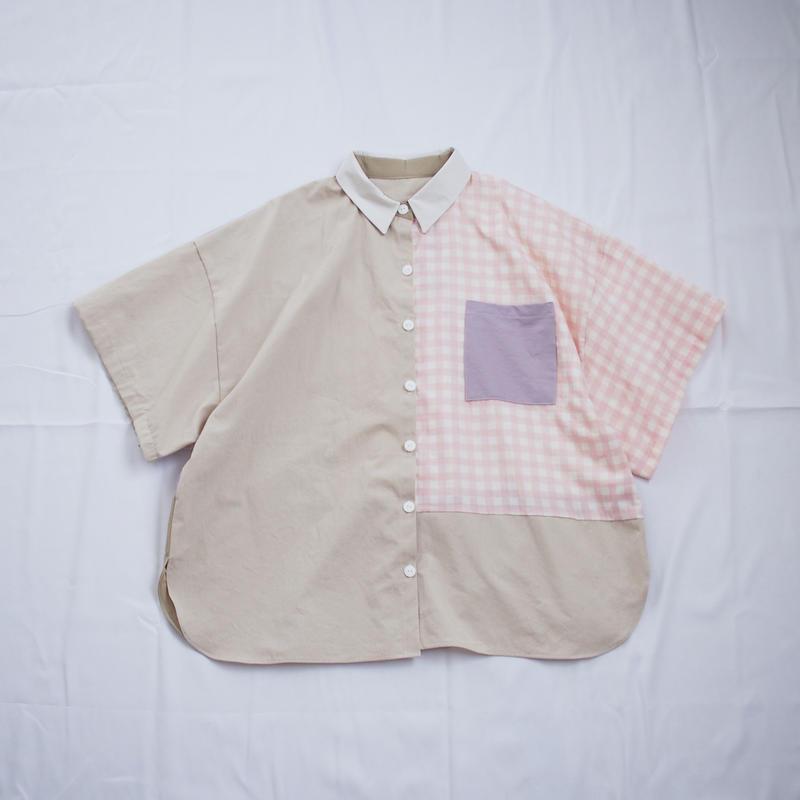 ツギハギ半袖シャツ(ベージュ×ピンク)
