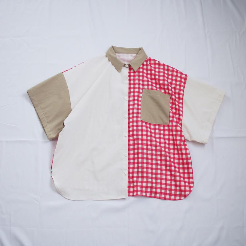 ツギハギ半袖シャツ(ホワイト×レッド)