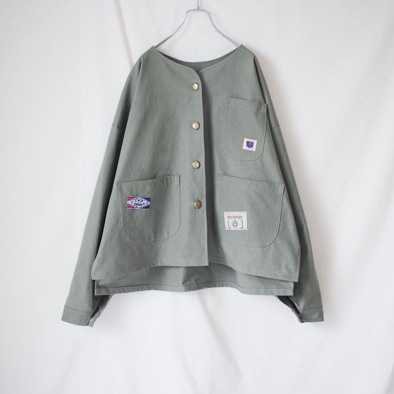 コットンノーカラージャケット(スモーキーグリーン)