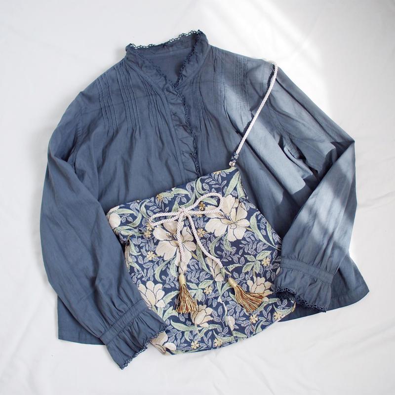 vintage風巾着バッグ(navy)