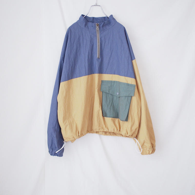 ナイロンプルオーバー(ブルー×オレンジ)