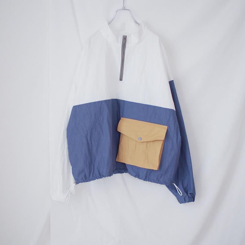 ナイロンプルオーバー(ホワイト×ブルー)