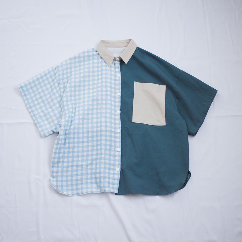 ツギハギ半袖シャツ(グリーン×ブルー)