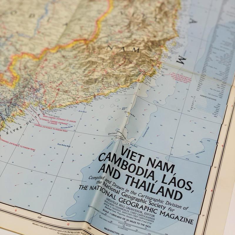 National Geographic社古地図[Vietnam,Cambodia,Laos,Thailand1967年製]