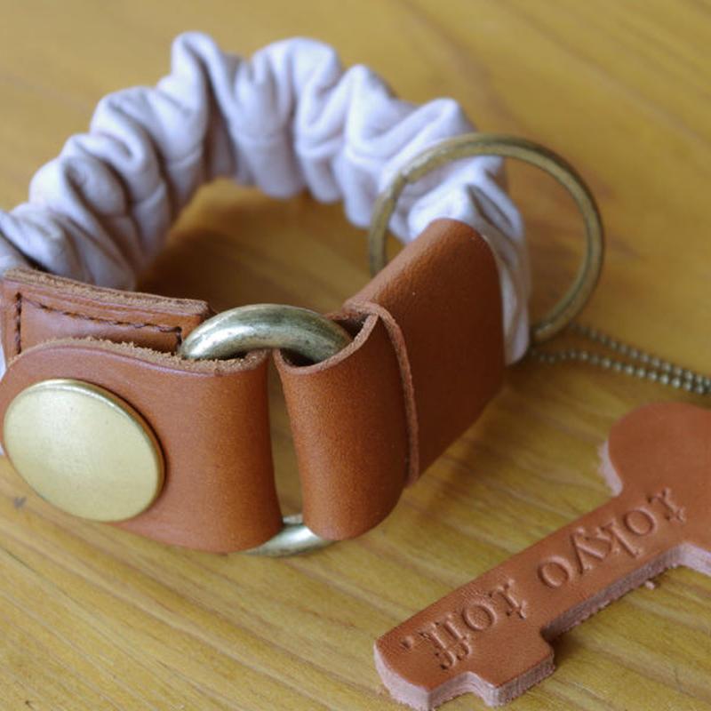 key bracelet ピンク×ブラウン×ゴールド