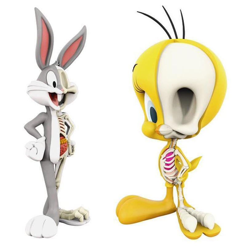 Anatomical 4-inch Bugs Bunny and Tweety Bird by Jason Freeny