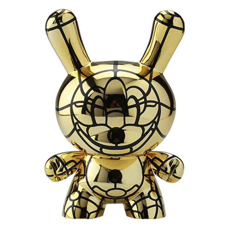 """Bad - Gold 8"""" Dunny by David Flores (signed by artist)"""