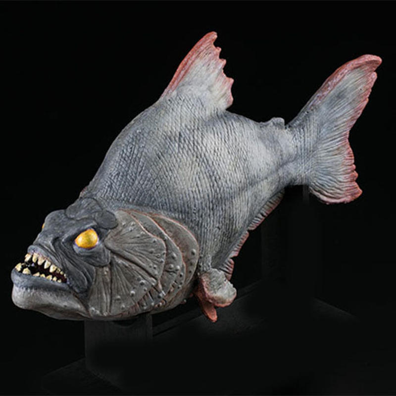 Piranha Prop Replica Model (Latex version) with walnut display stand