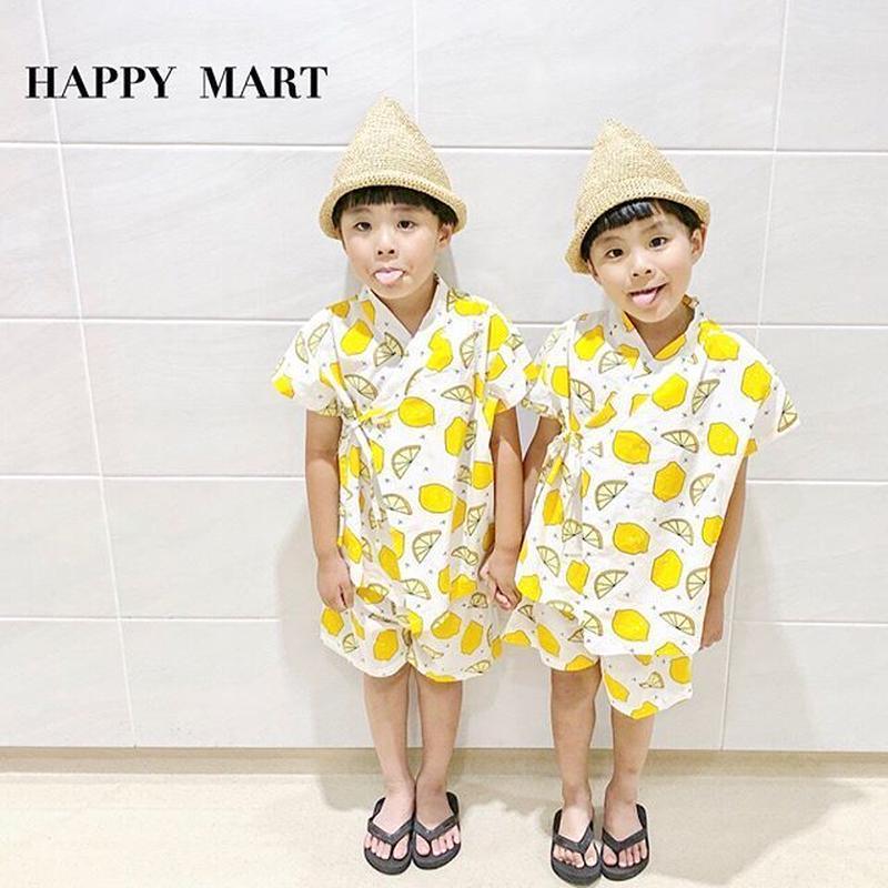 NEW(即納♡)(kids☆)レモン柄甚平
