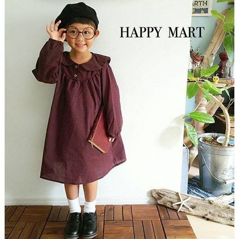 (即納♡)(kids☆)(秋新作♡襟つきギンガムチェックワンピース