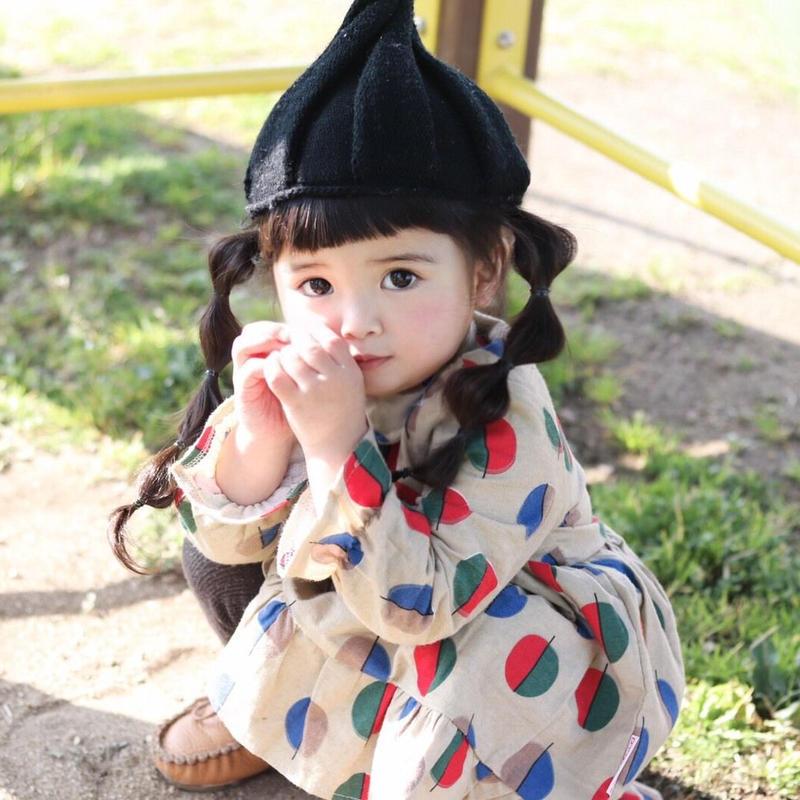 (即納♡)(kids☆)木の葉柄襟つきワンピース