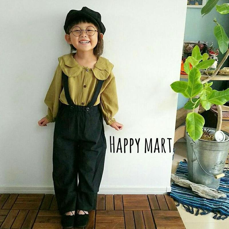 (kids♡)(即納)丸襟シャツ&サロペットセット♡