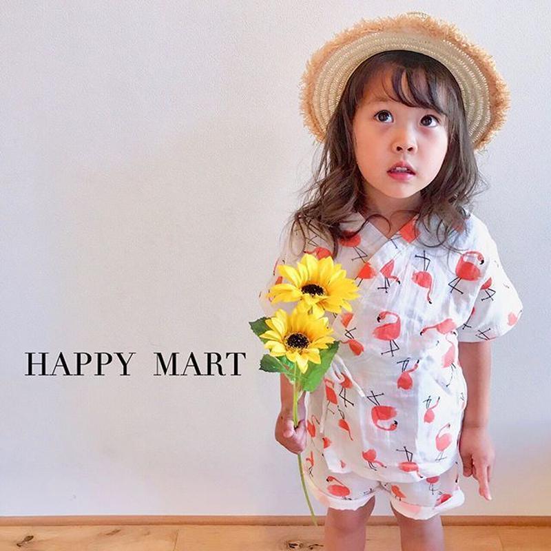 (即納♡)(kids☆)フラミンゴ柄甚平