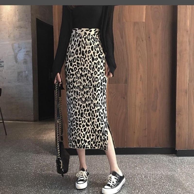 (即納♡)(レディ―ス)レオパード柄ニットひざ丈スカート