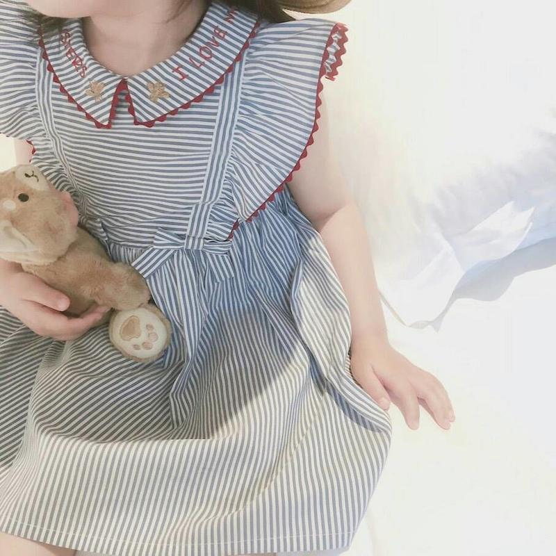 (即納♡)(kids☆)袖フリルストライプワンピース