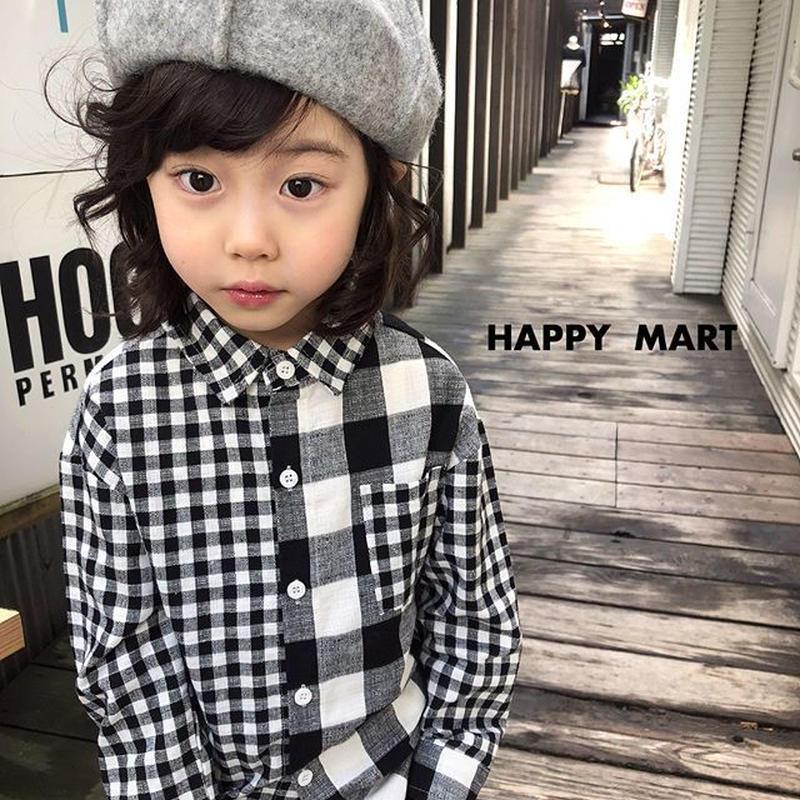 (即納♡)(kids☆)アシメントリーギンガムチェックシャツ