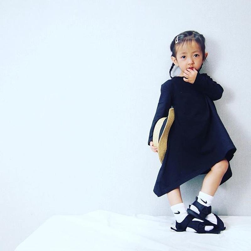 (即納♡)(kids☆)シンプルアシメントリ―ワンピース(ブラック、グレー)