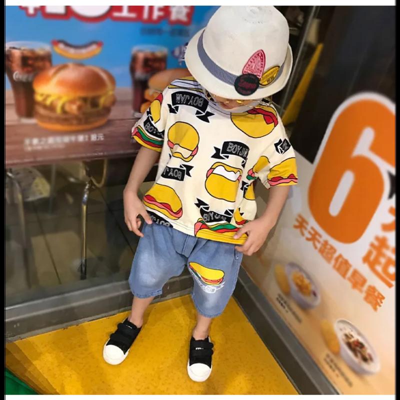 (即納♡)(kids☆)ホットドック柄Tシャツ&ショートデニムSET