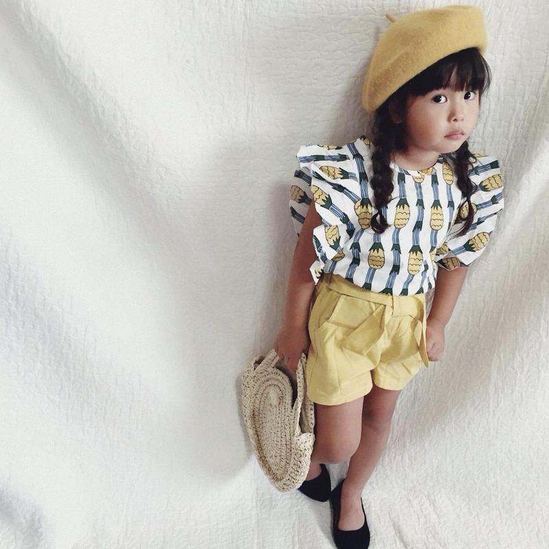 (即納♡)(kids☆)パイナップル総柄袖フリルセットアップ