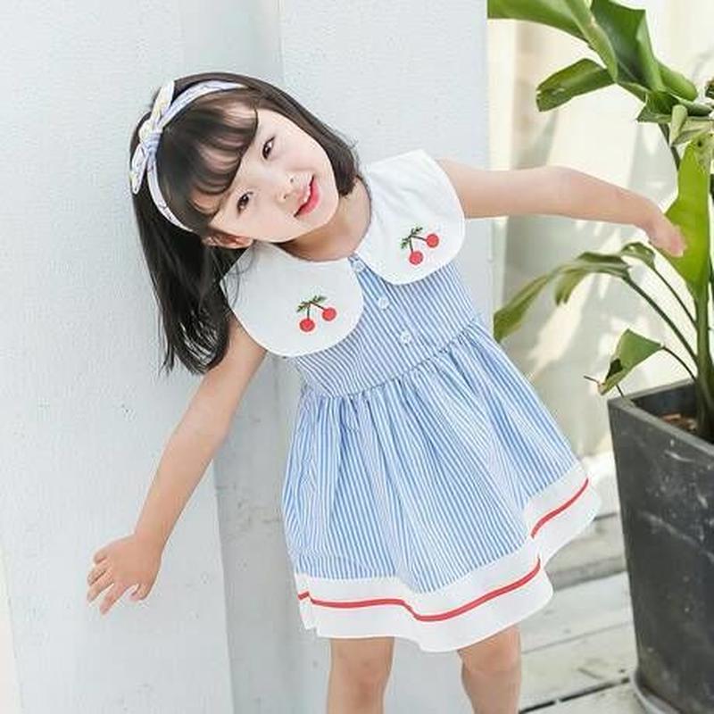 (即納♡)(kids☆)さくらんぼ刺繍ストライプワンピース