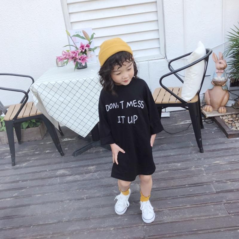 (即納♡)(kids☆)シンプルロゴTシャツワンピース・ブラック