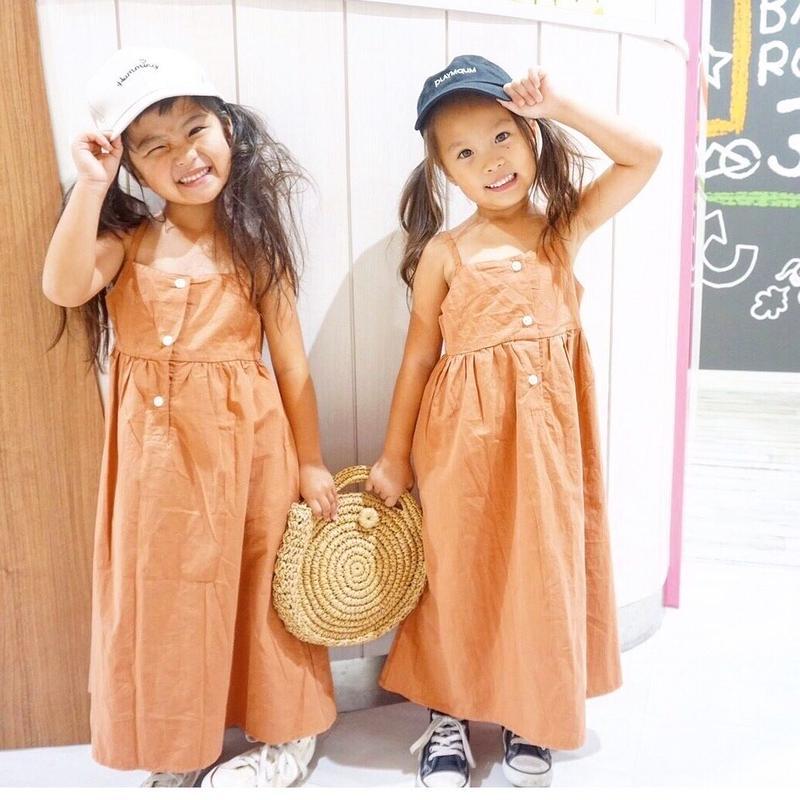 (即納♡)(kids☆)くすみベージュボタン付ロングワンピース