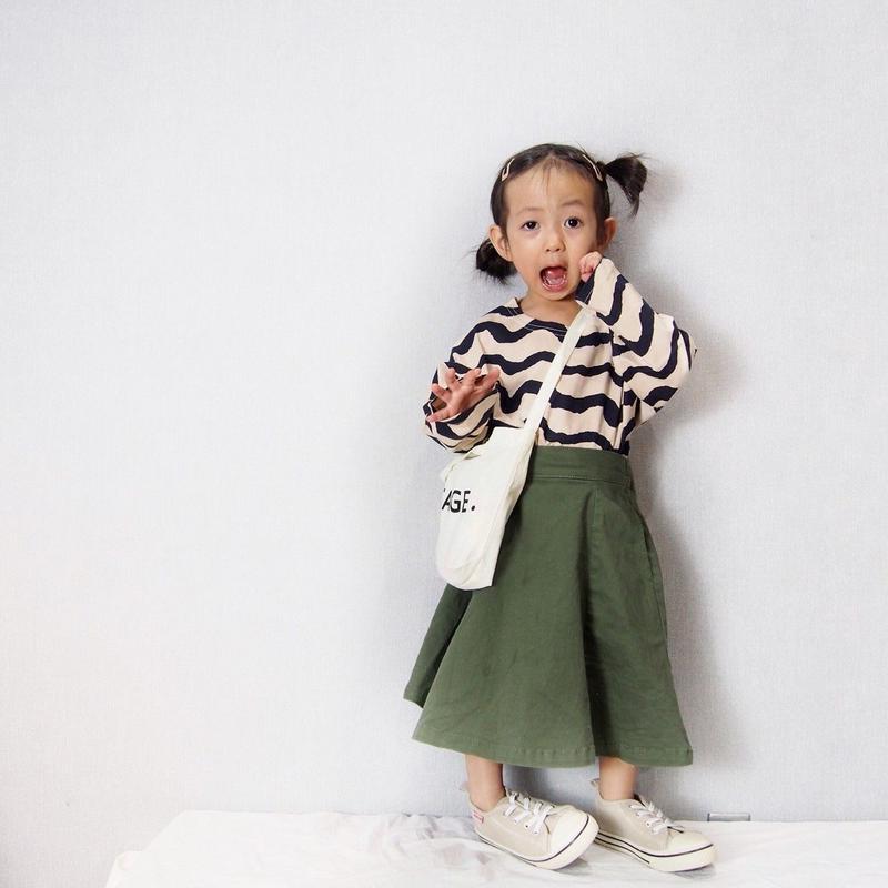 (即納♡)(kids ウェーブパターンロングTシャツ ホワイト