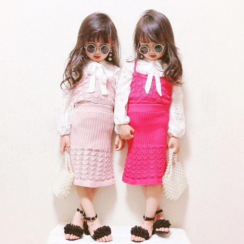 (即納♡)(kids☆)ニットキャミ&スカートSET(ピンク)