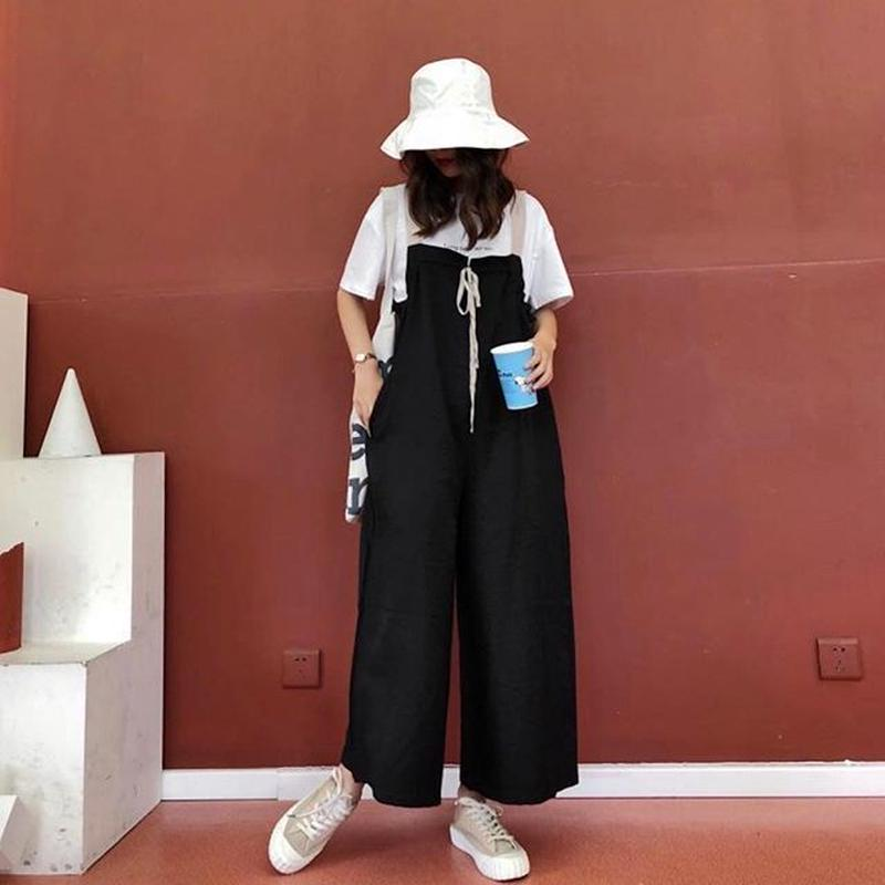 (予約販売♡)(レディ―ス)リボン付サロペット(BLACK)