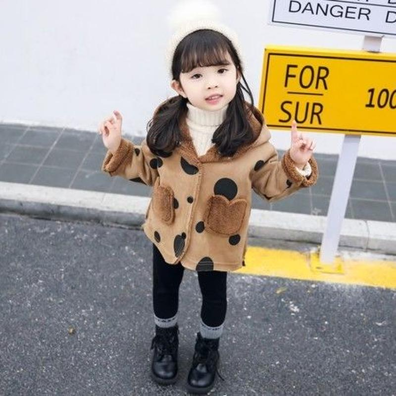 (即納♡)(kids☆)ドット柄アウター(ブラウン)